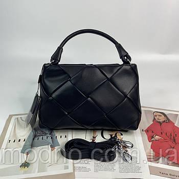 Женская кожаная плетенная сумка через и на плечо с тонким ремешком Polina & Eiterou