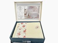 Комплект летнего постельного белья DO&GO Dantelli Pike Krem ранфорс 240-220 см кремовый