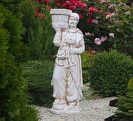 Садовая  парковая фигура Козак с булавой 96х33х27 см (цвет Крем)