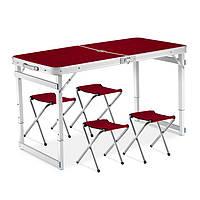 Стол для пикника усиленный с 4 стульями Folding Table коричневый