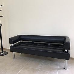 Офісний диван тримісний Тонус чорна екошкіра БЕЗКОШТОВНА ДОСТАВКА