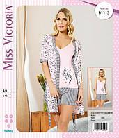"Комплект тройка халат и пижама ТМ ""Miss Victoria"" Турция размеры S-M (46/48), L-XL(48/50)"