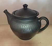 Чайник глиняний для запарювання лощений з ситом всередині 1000 мл, фото 1
