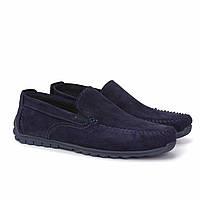Замшеві мокасини на резинці сині чоловіче взуття великих розмірів Rosso Avangard Moccarez Blu Vel BS, фото 1