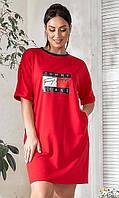 Женское красное платье-туника,летнее,большого размера Турция 50-52 54-56