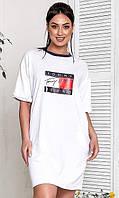 Женское белое платье-туника,летнее,большого размера Турция 50-52 54-56