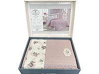 Комплект летнего постельного белья DO&GO Dantelli Pike Lila ранфорс 240-220 см сиреневый