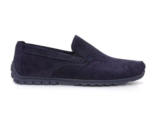 Замшеві мокасини на резинці сині чоловіче взуття великих розмірів Rosso Avangard Moccarez Blu Vel BS
