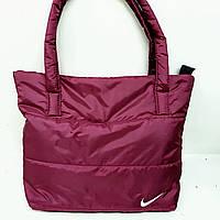 Женская дутая сумка-пуховик бордовая