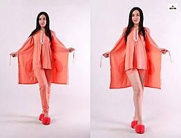 Комплект пижама женская 4 в 1 шорты, штаны, футболка и халат для беременных и кормящих мам персиковый р42-54