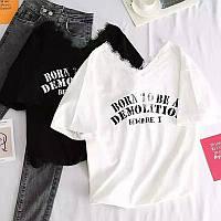 Женская стильная футболка с надписью, фото 1