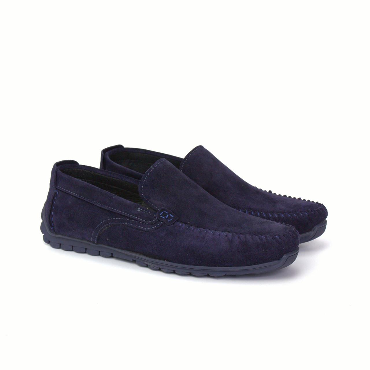 Замшевые мягкие мокасины на резинке синие мужская обувь летняя Rosso Avangard Moccarez Blu Vel