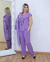 Стильный летний костюм тройка женский: брюки, блуза и удлиненная рубашка. Батал