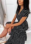 Літнє плаття в горошок на запах довжиною міді з коротким рукавом (р. 42-46) 40032483, фото 2