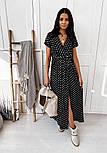 Літнє плаття в горошок на запах довжиною міді з коротким рукавом (р. 42-46) 40032483, фото 4