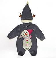 """Велюровый человечек """"Снеговик"""" с шапочкой унисекс. 56 см"""