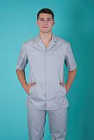 """Медицинский костюм мужской """"Сокол"""", серый, рукав короткий"""
