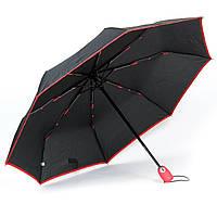 Женский зонтик автомат черный c с красным кантом