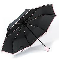 Женский зонтик автомат черный с розовым кантом