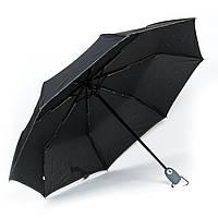 Женский зонтик автомат черный с серым кантом