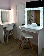 Макияжный столик под барный стул и гримерное зеркало с подсветкой и ящик с замочком белый 850 мм