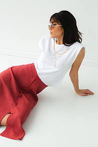 Белая женская футболка со съемными цепочками L