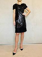 Платье черное женское в пайетках молодежное нарядное в стиле Dolce&Gabbana вечернее яркое модное стильное