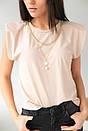 Бежева жіноча футболка зі знімними ланцюжками, фото 2