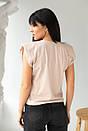 Бежева жіноча футболка зі знімними ланцюжками, фото 3