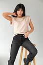 Бежева жіноча футболка зі знімними ланцюжками, фото 5