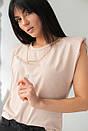 Бежева жіноча футболка зі знімними ланцюжками, фото 6