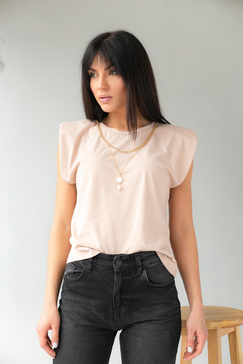 Бежева жіноча футболка зі знімними ланцюжками