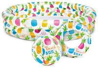 """Надувной бассейн для детей """"Ананасы"""" с мячом и кругом, Маленькие детские надувные басейны, Intex"""