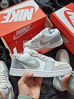 Nike Air Jordan 1 Low женские кроссовки Women Gray / Обувь Найк Аир Джордан Лоу серые низкие кеды замшевые