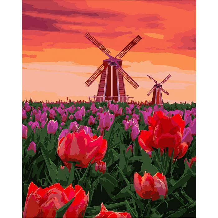 Картина малювання за номерами Ідейка Тюльпани на заходi КНО2275 40х50см набір для розпису, фарби, пензлі, полотно
