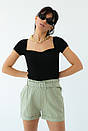 Жіноча футболка з квадратним вирізом в чорному кольорі, фото 2