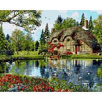 Картина рисование по номерам Mariposa Q2201 Коттедж с видом на озеро 40х50см набор для росписи по цифрам,