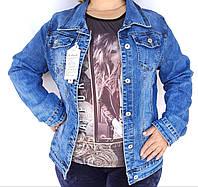 Женская джинсовая куртка /увеличенная/джинсовый женский пиджак/джинсовая светлая курточка