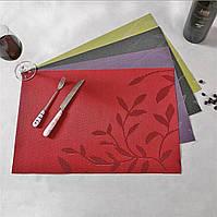 Салфетка под тарелку на стол с цветами 30х45см
