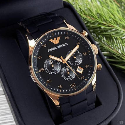 Emporio Armani AR-5905 Black-Gold-Black Silicone