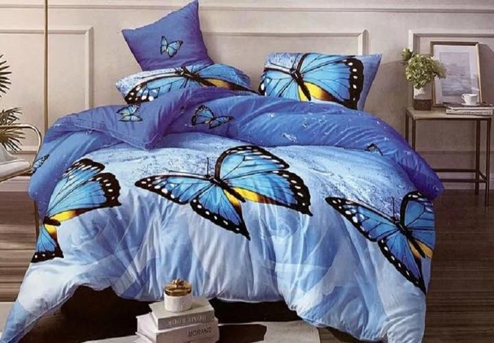 Евро комплект постельного белья Бязь размер 200х215 см цветы и бабочки