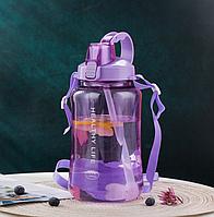 🔥 Велика пластикова спортивна пляшка для води, Фітнес пляшка з ручкою трубочкою ремінцем 1,5 л / 1500мл