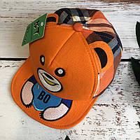 Детская стильная кепка BT. cap в клетку (оранжевый)