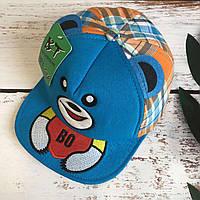 Детская стильная кепка BT. cap в клетку (голубой)