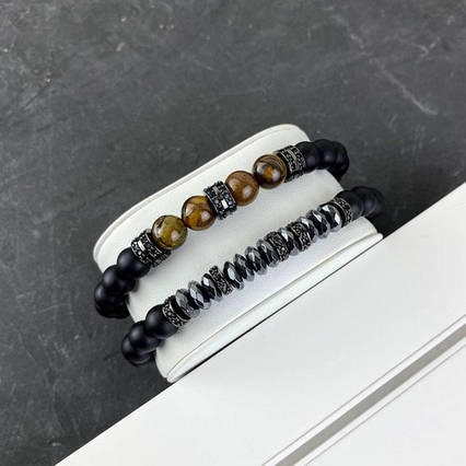 2B Rich Bracelet Pearl 8 mm, 19 cm Black-Orange