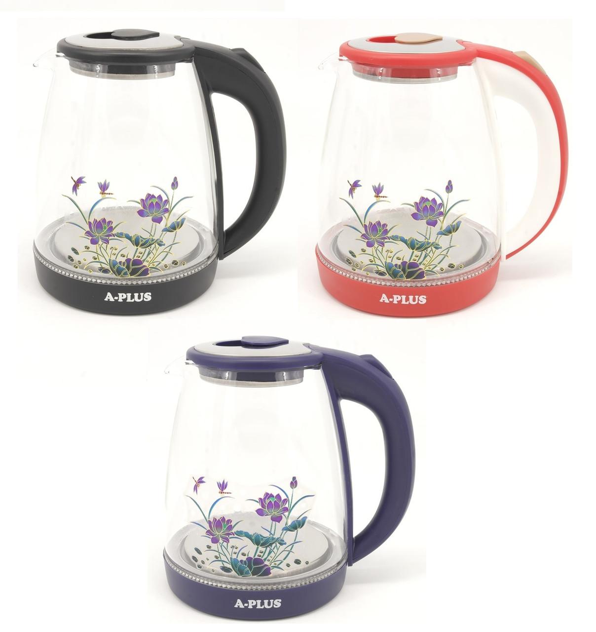 Електричний скляний чайник дисковий 2 л A-Plus 1504-AP