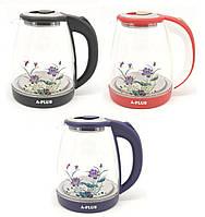 Електричний скляний чайник дисковий 2 л A-Plus 1504-AP, фото 1