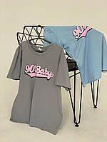Жіноча футболка 90-е, Тканина - Кулір , виробництва Туреччина,однотонна з написом(42-50), фото 1