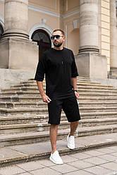 CLOSER Мужской спортивный костюм/комплект черный лето. Оверсайз Футболка+шорты