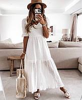 Женское  платье из прошвы ниже колена  размеры 42-46